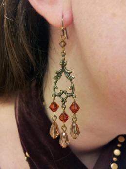 Faux Antique Crystal Chandelier Earrings