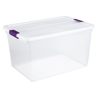 Sterilite ClearView Purple Storage Box with Latching Lid 66-qt. = $8.99