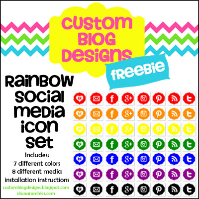 Free Rainbow Social Media Icon Set by Diana Rambles